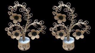 Amazing Flower And Tree Showpiece with Jute & Plastic bottle || Handmade Jute Flower Pot Showpiece