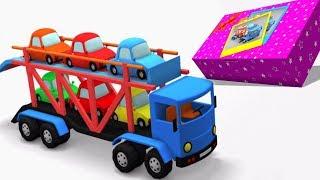 autonkuljetusalusten | lasten video | purkaa ajoneuvot | Car Carrier Unboxing | Car Cartoon