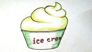 For Kids - How To Draw Cup Ice-cream / Drawing Ice-cream cup Very Easy Step by Step Tutorial