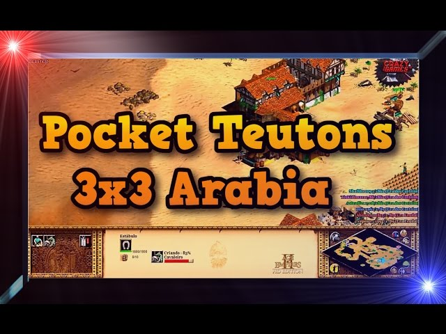 Age of Empires 2 HD 3x3 Arabia Teutons Pocket Gameplay PT BR