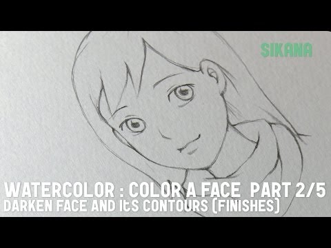 Watercolor: (part 2/5) draw a girl's face - shonen manga style