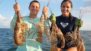 Diving for Lobster! (Catch and Cook) Grilled Lobster Surf and Turf!!!