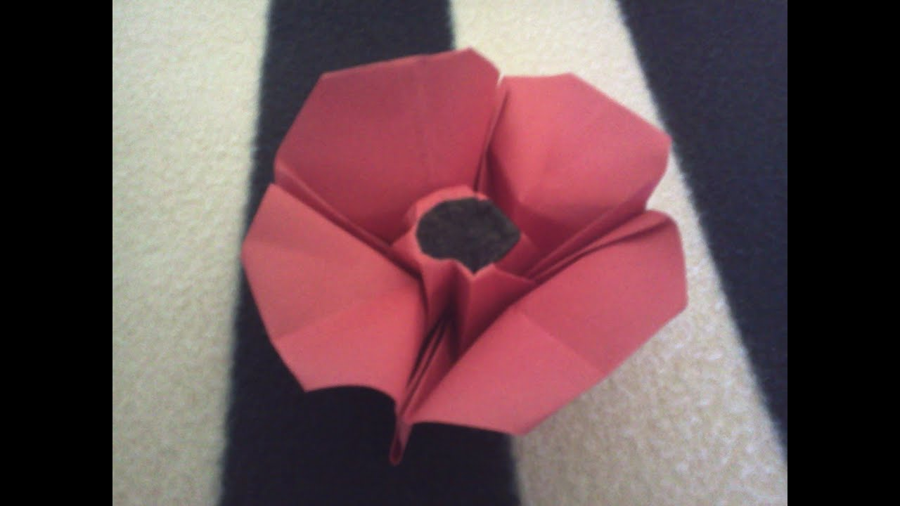 origami  poppy flower tutorial - amapola de papel