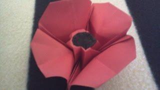 Origami poppy - Amapola de papel