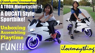 Children's TOY CARS: A White 12 Volts Ride-On Power Wheels Motorcycle Toy Unboxing and Playtime