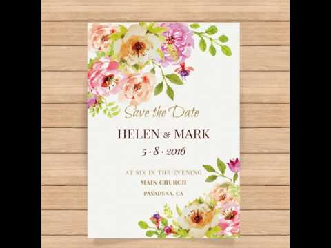 Cute wedding invitation with watercolor flowers Free Vector in Wedding