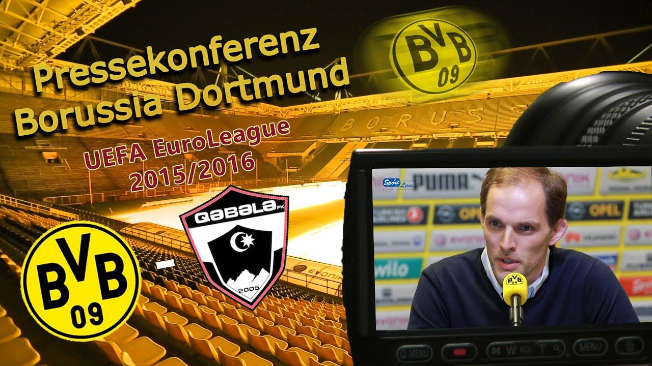 Borussia Dortmund - F.K.Qäbälä: Pk mit Thomas Tuchel nach dem Spiel