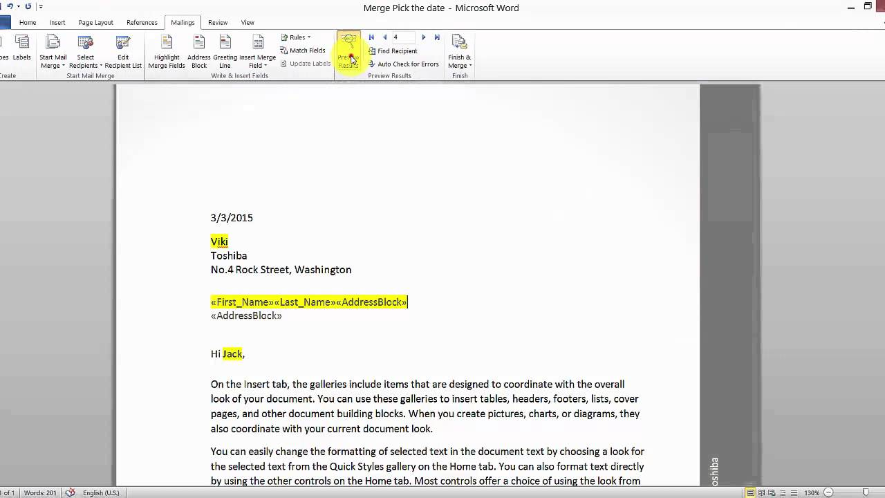 Mail Merge How To Insert Address Blocks Greeting Lines For News