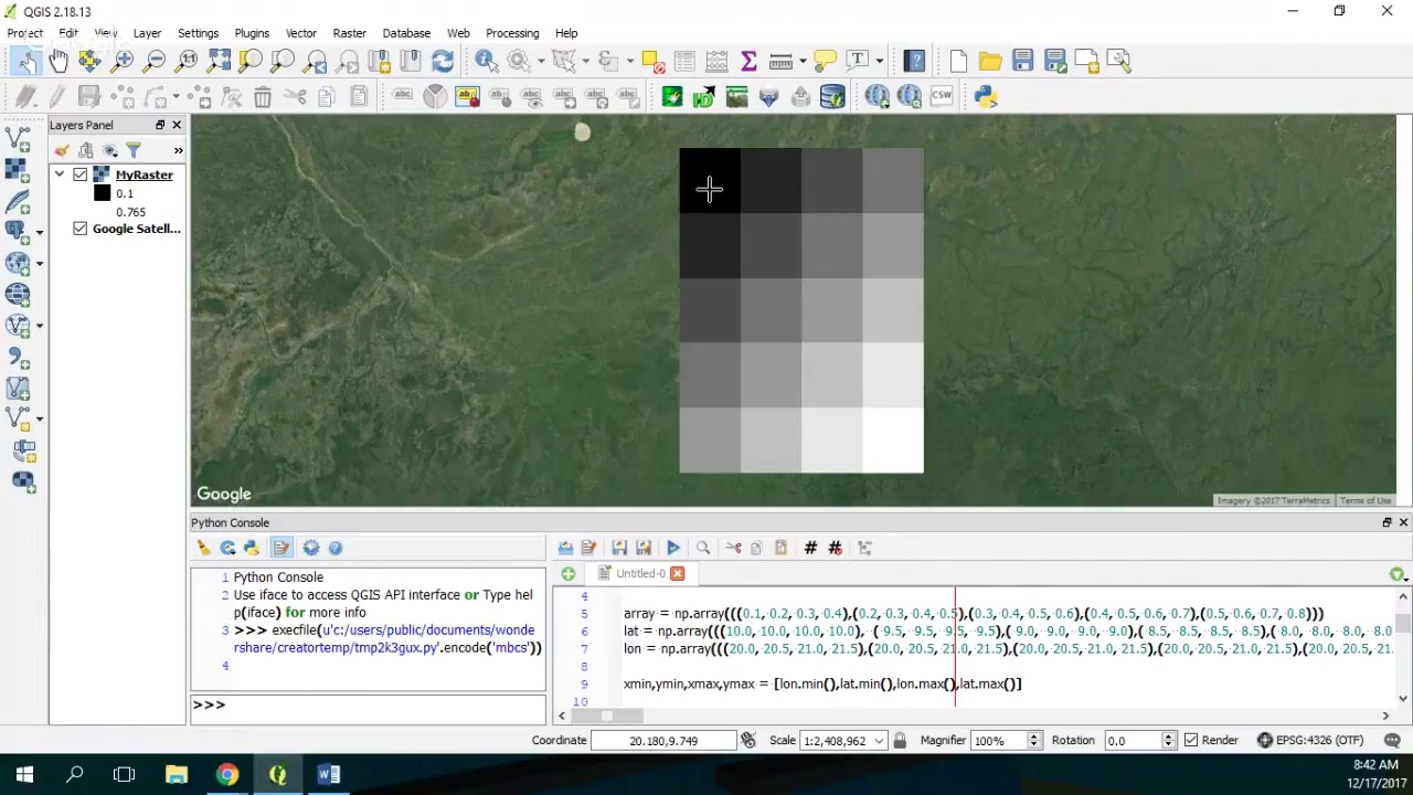 How to Convert a Matrix in a Geospatial Tiff in QGIS with