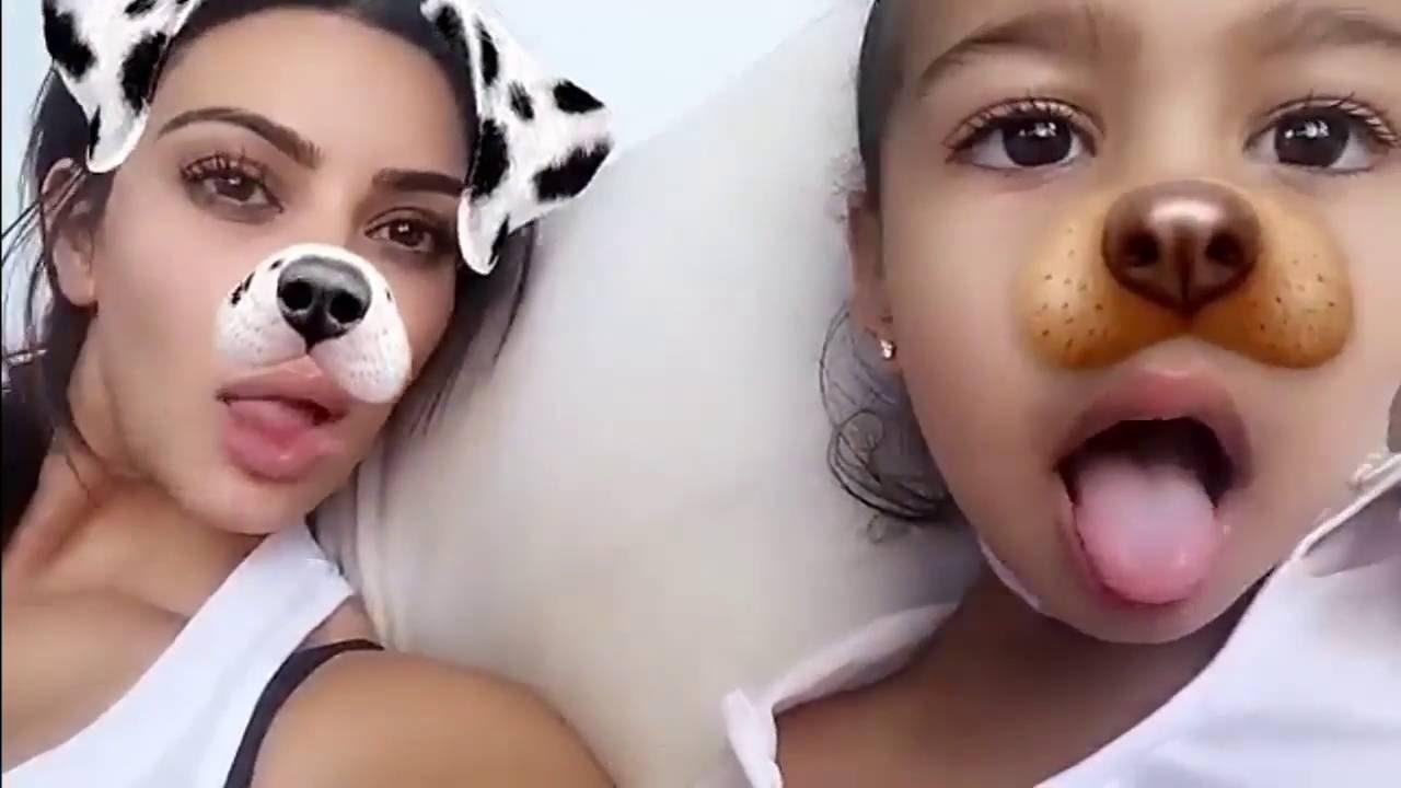 Hot-on-YouTube: Kim Kardashian and North playing with snapchat ef...
