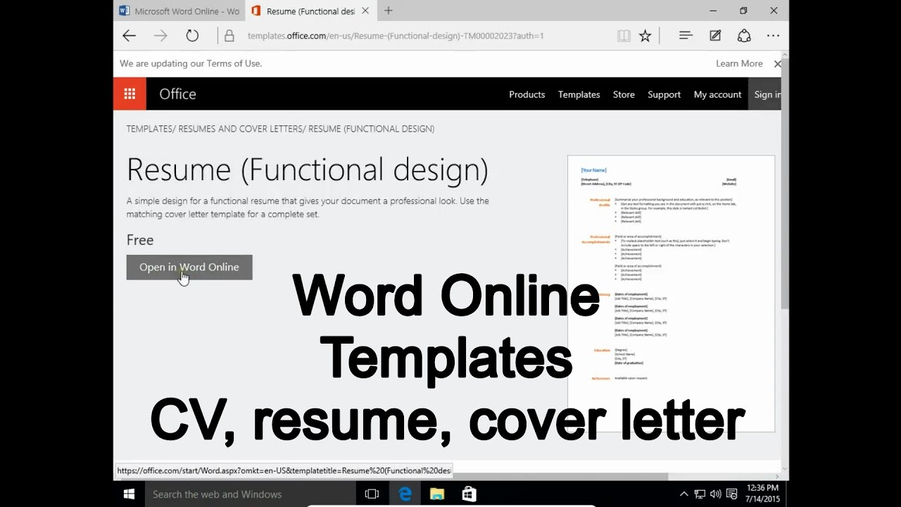 Word Online 1. Templates - How to write CV, resume, cover letter