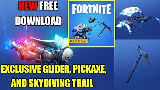 Fortnite Battle Royale - NEW FREE Exclusive Glider Pickaxe And Skydiving Trail