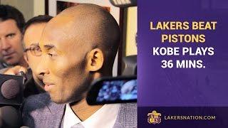 Lakers Beat Detroit Pistons, Kobe Bryant Plays 36 Minutes