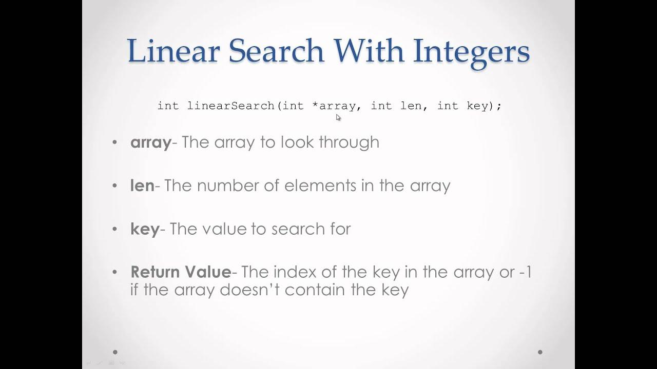 C programming tutorial 81 linear search algorithm with integer c programming tutorial 81 linear search algorithm with integer arrays baditri Gallery