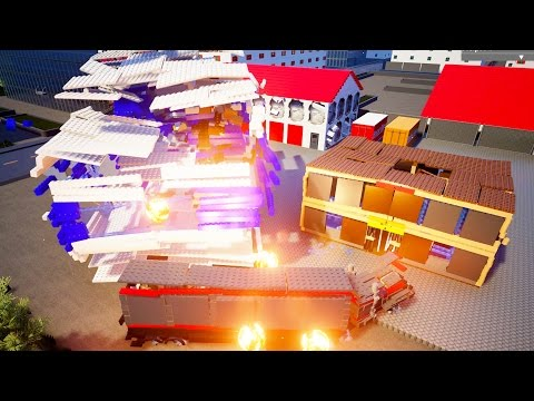DESTROYING POLICE STATION + Office W/ Heavy Lego Machinery - Brick Rigs Workshop Creations Gameplay