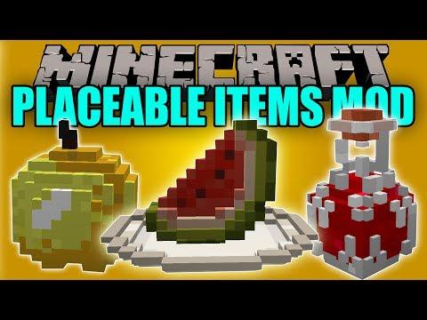 PLACEABLE ITEMS MOD - Objetos en 3D para Decorar - Minecraft mod 1.10.2 y 1.11.2 Review
