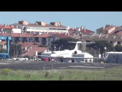 Gulfstream G550 (OE-IGO) Takeoff San Sebastian EAS/LESO (10/04/2016)