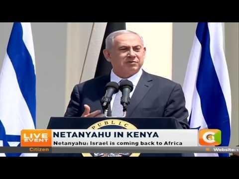 Israel Prime Minister Benjamin Netanyahu addresses Kenyans