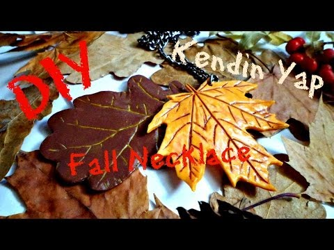 DIY Maple & Oak Leaf Fall Necklace From Polymer Clay