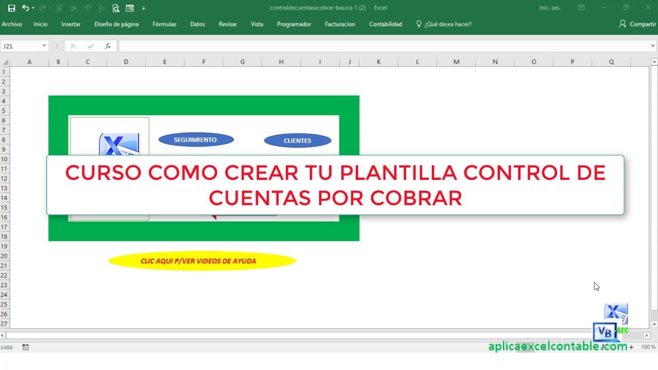 Nuevo Curso Como Crear tu Plantilla Control de Cuentas por Cobrar en ...