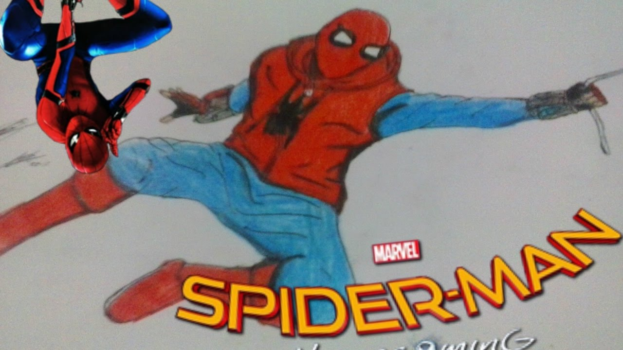 DRAWING Spider , Man Homecoming / spidey homemade suit / speed drawing