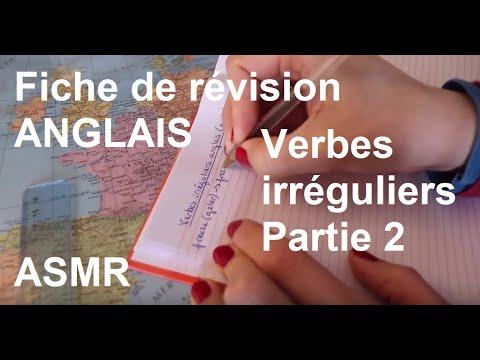 Asmr Francais Fiche De Revision Anglais Verbes Irreguliers Partie 2 Youtube