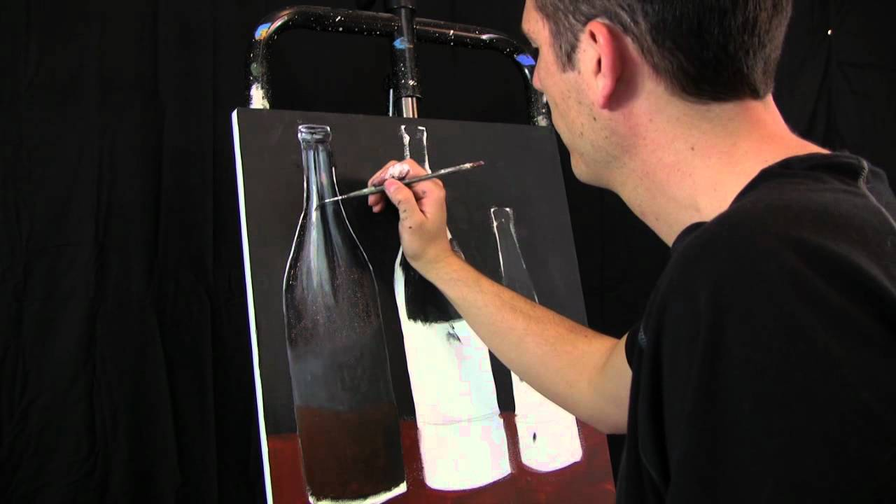Oil and acrylic soda bottles painting in progress by tim for How to paint bottles with acrylic