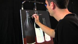 Oil and Acrylic Soda Bottles painting in progress by Tim Gagnon Session 1 Time Lapse