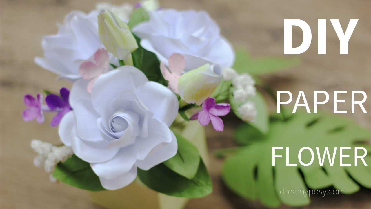 FREE template]: How to make paper gardenia and paper foliage from ...