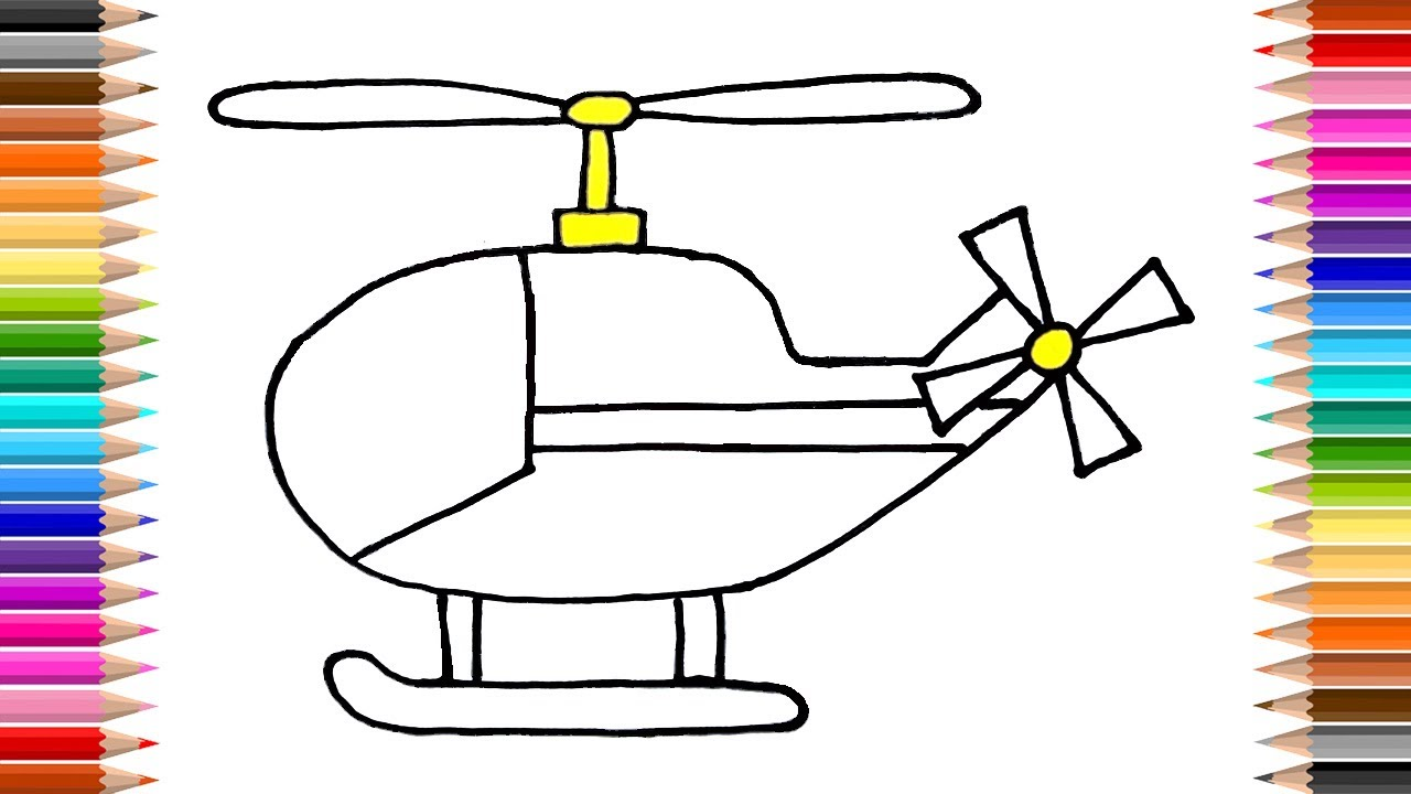 How to Draw Helicopter | Coloring pages | Kids songs | Learn colours  Drawing | art for Kids