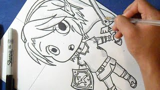 "Cómo dibujar chibi Link ""Leyenda de Zelda"" 