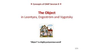 Lecture 9. The Object of Activity in Leontyev, Engeström and Vygotsky