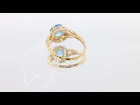 Золотое кольцо с топазом и бриллиантами!
