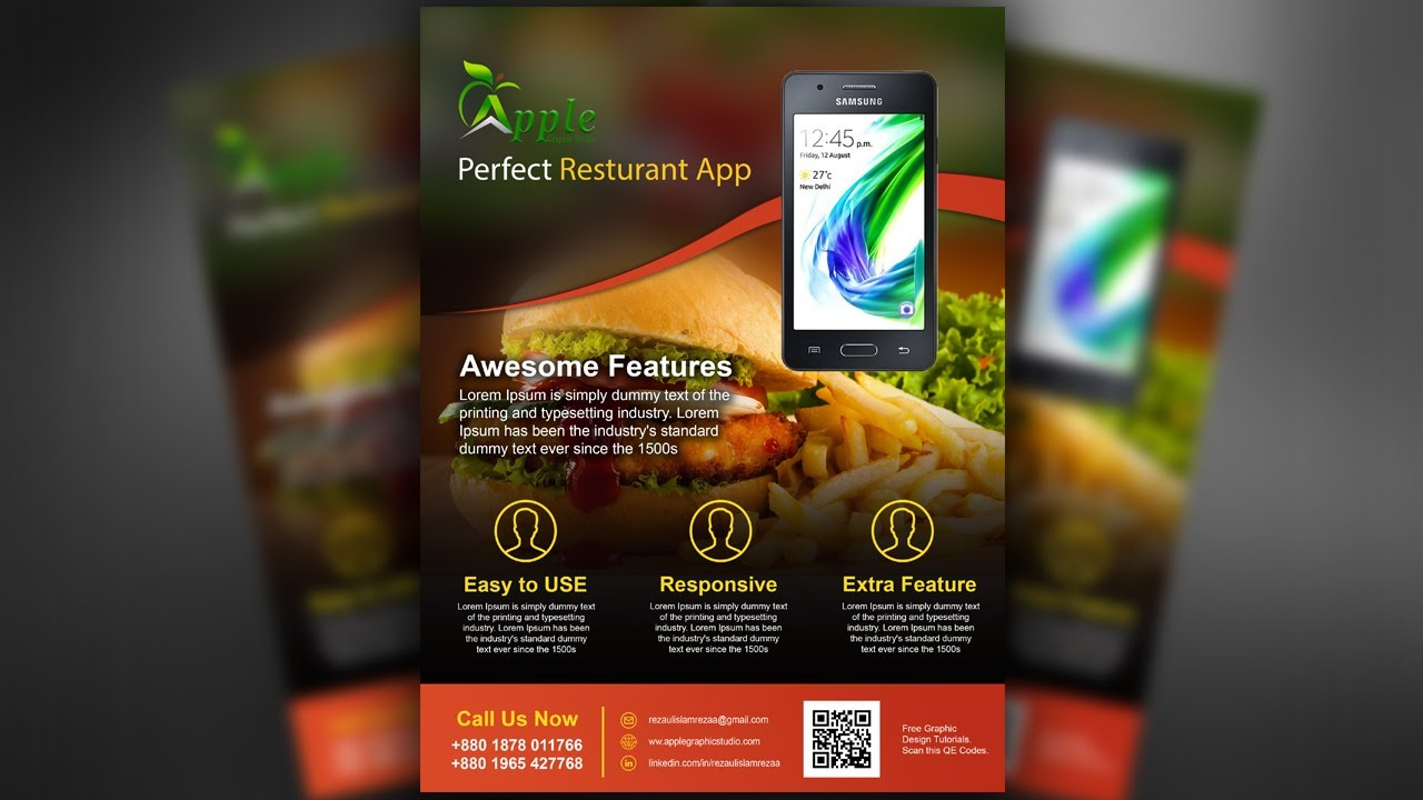 mobile app promotional flyer design photoshop tutorial youtube