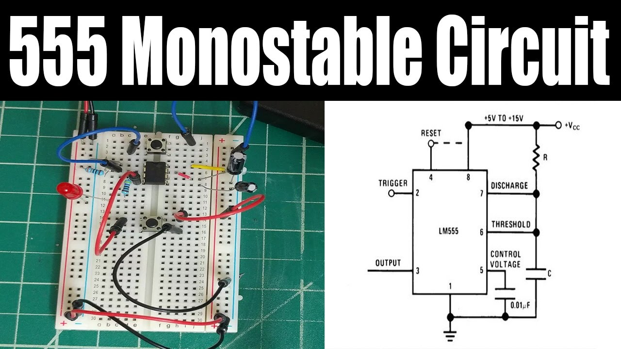 Tutorial How To Build The 555 Timer One Shot Monostable Circuit Lm555 Page With Reset