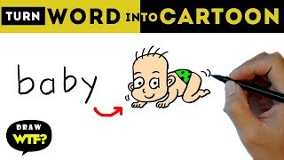 Very Easy! How to turn word BABY into Cartoon? Let