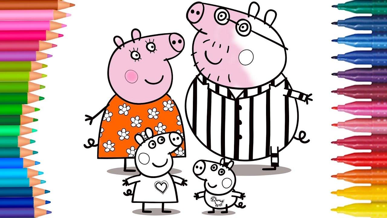Peppa Pig Ailesi çizgi Film Karakterleri Boyama Sayfası Minik