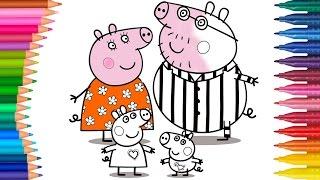 Peppa Pig Ailesi Çizgi Film Karakterleri Boyama Sayfası | Minik Eller Boyama Kit