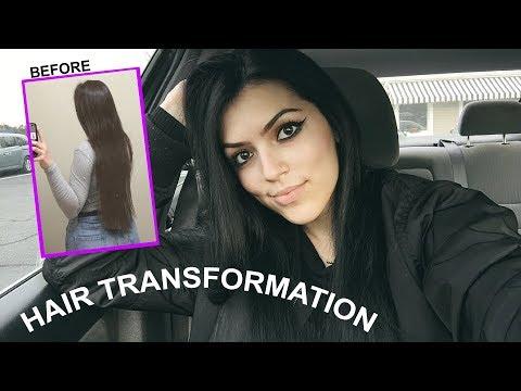 HAIR GLOW UP - Cutting & Dyeing it Black
