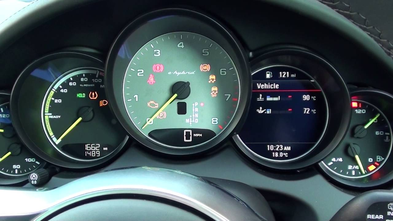 Porsche Cayenne S e Hybrid Engine Start & Warning Lights