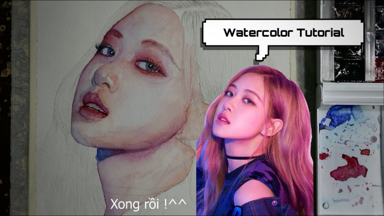 Hướng dẫn tả da bằng màu nước   Watercolor tutorial  Drawing Khanhnguyen