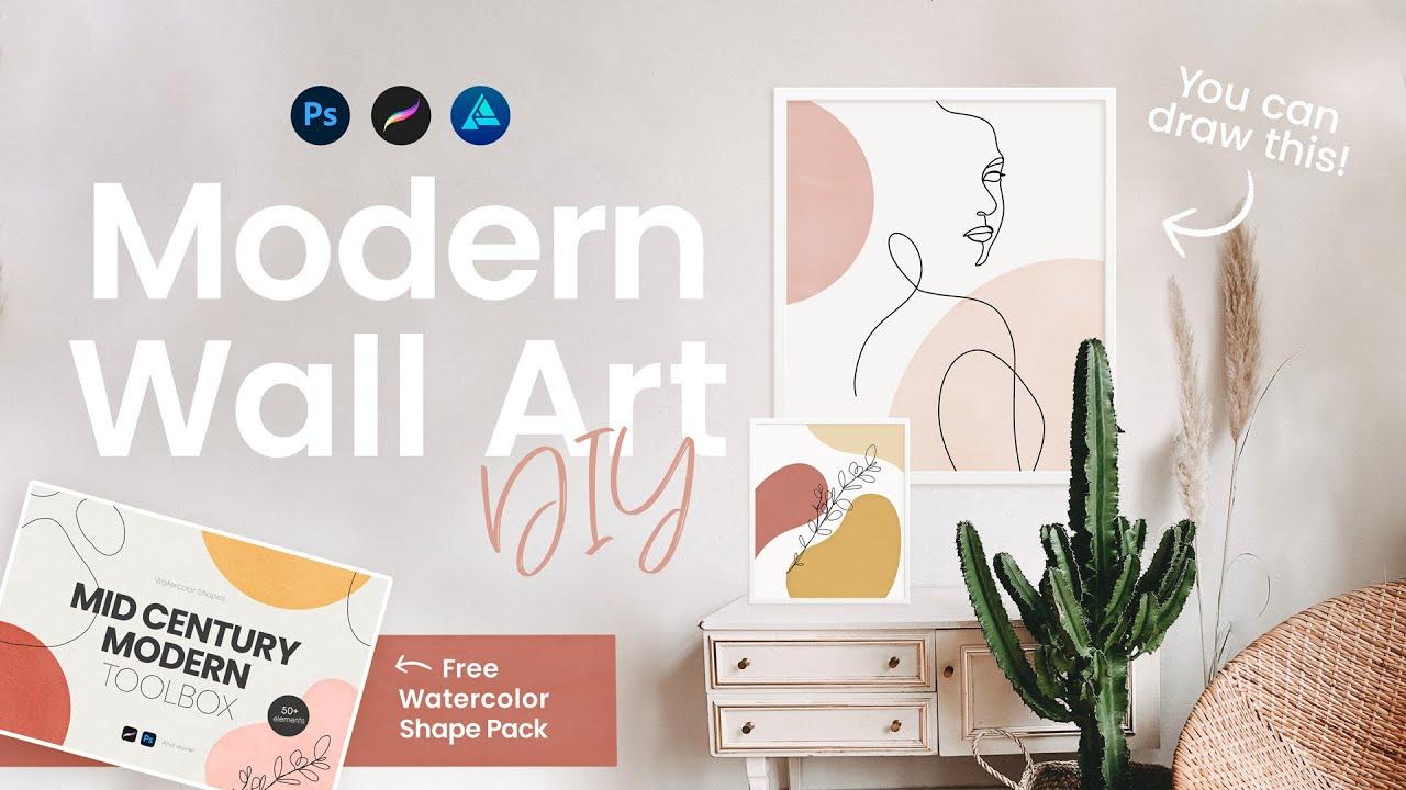 Mid Century Modern Decor DIY • Easy • Digital Line Art Tutorial + FREE  Watercolor Shapes