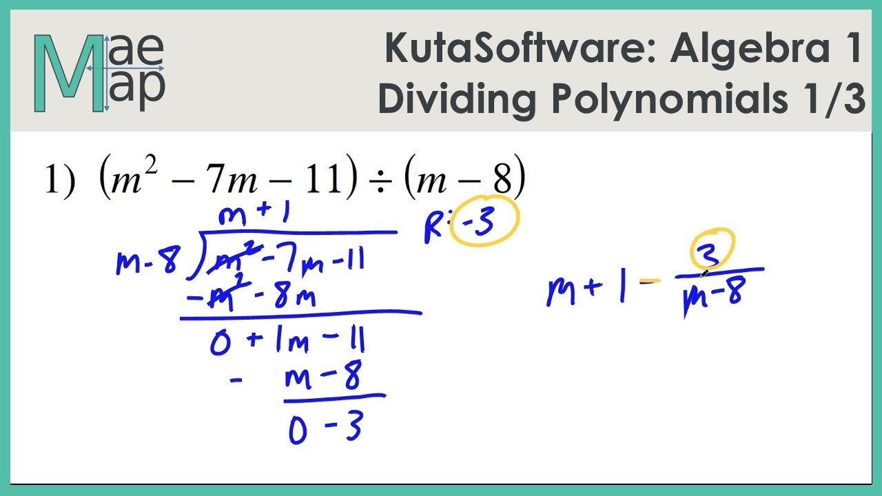 Kutasoftware Algebra 1 Dividing Polynomials Part 1 Youtube