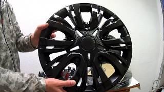 Колпаки колесные R15 ЛИОН, черный глянец карбон, набор 4 шт - Видео-обзор