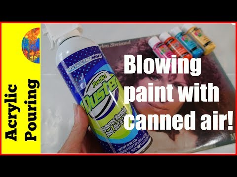 Use Canned Air To Blow Acrylic Paint (Acrylic Pouring Technique Tutorial)