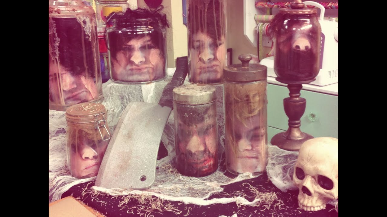 Heads in a jar halloween diy by tanya memme as seen on for Heads in jar