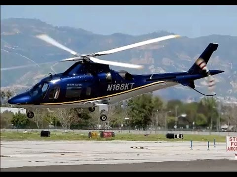 Agusta A109 Executive Helicopter Engine Start, Warm-Up & Departing Van Nuys Airport