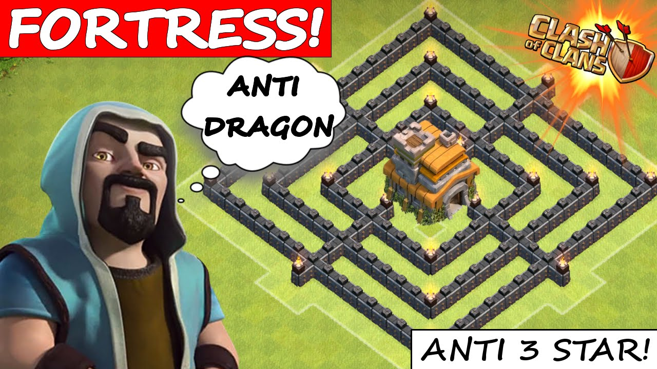 Clash of clans epic th7 war base quot the fortress quot anti dragon amp anti