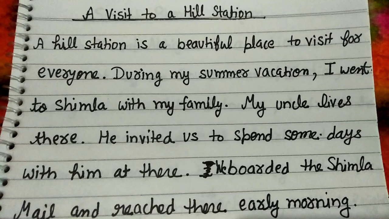 A visit to a hill station short essay