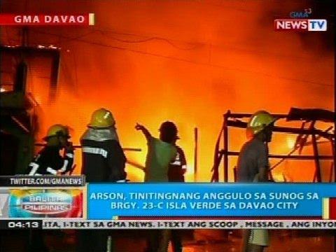 Arson, tinitingnang anggulo sa sunog sa Brgy. 23-C Isla Verde sa Davao City